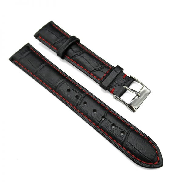 Black alligator embossed leather watch band