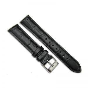 Black alligator embossed leather watch band from China manufacturer